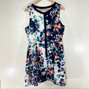 Mac + Jac spotted fit & flare button down dress XL